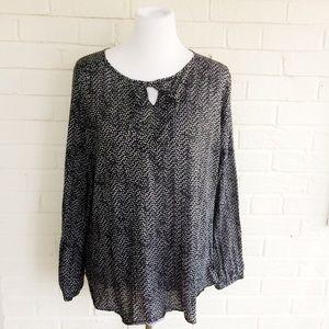 Faded Glory soft keyhole print pattern blouse